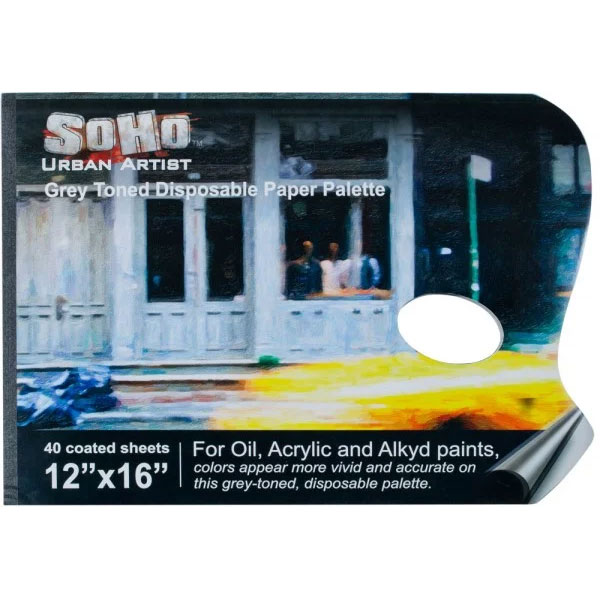 SoHo Grey-Toned Paper Palette Pads 9x12; with or without thumbhole; more sizes available